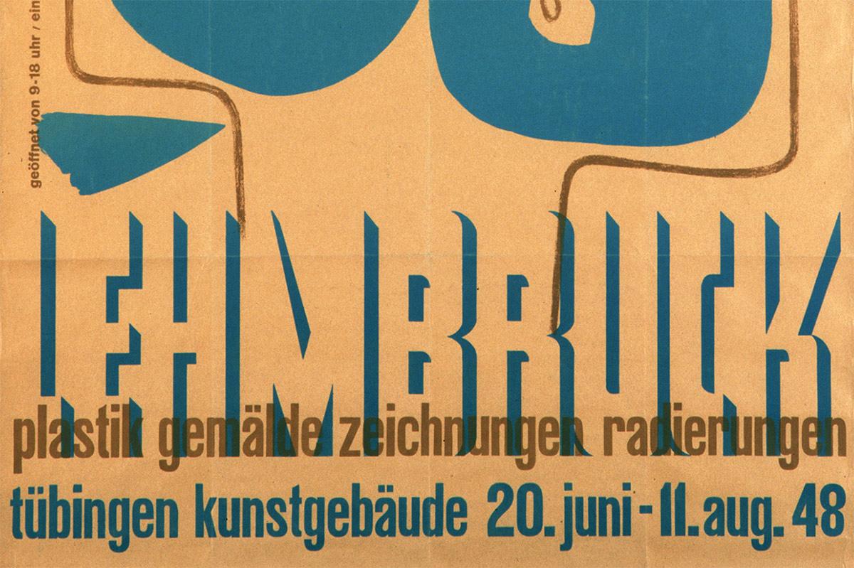Ausstellungsplakat zur Ausstellung Wilhelm Lehmbruck Meisterwerke,  1946
