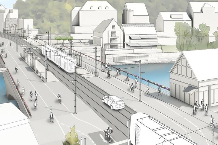 Projektierte Regionalstadtbahn Tübingen