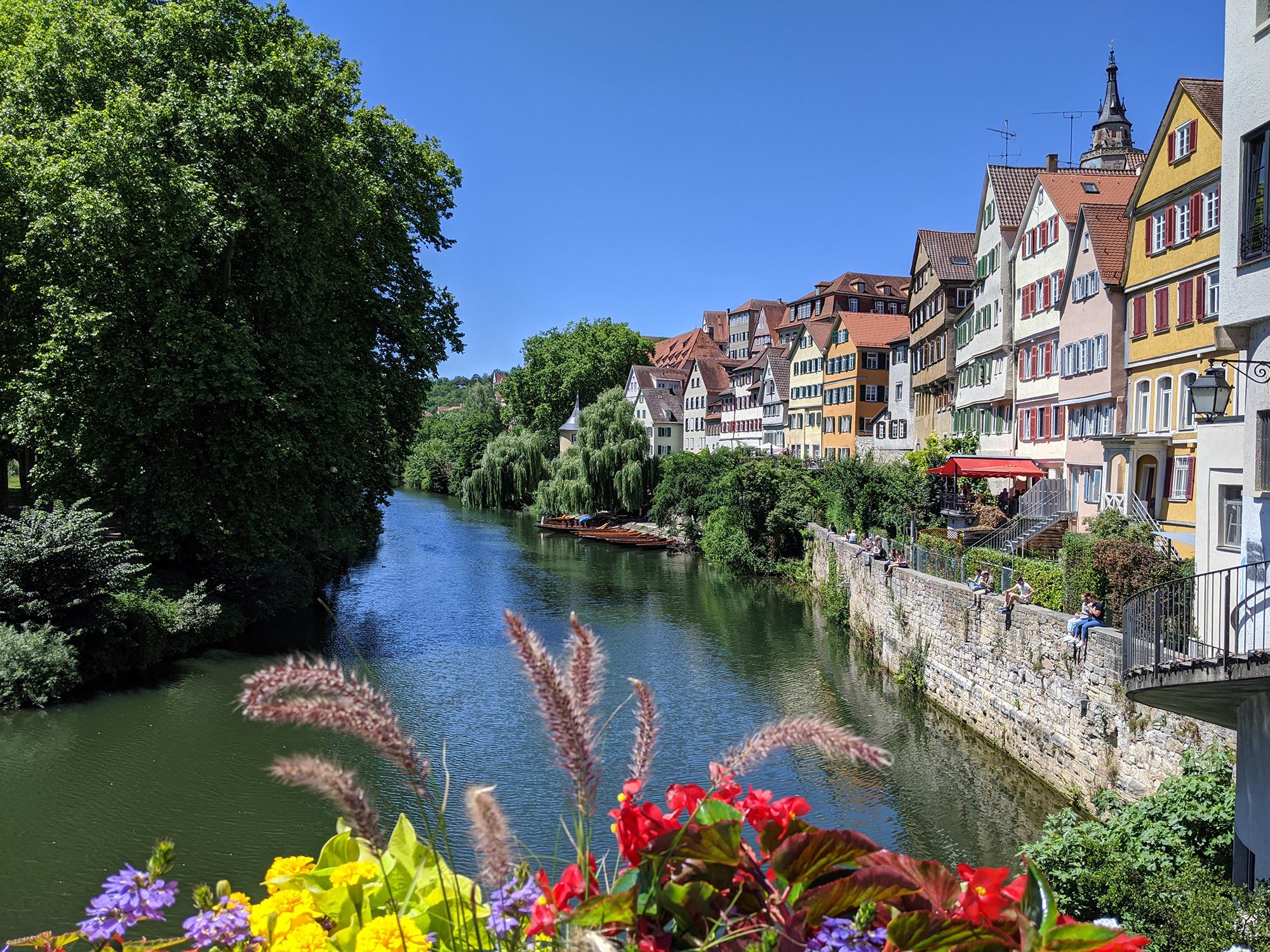 Neckarfront mit Blumenschmuck