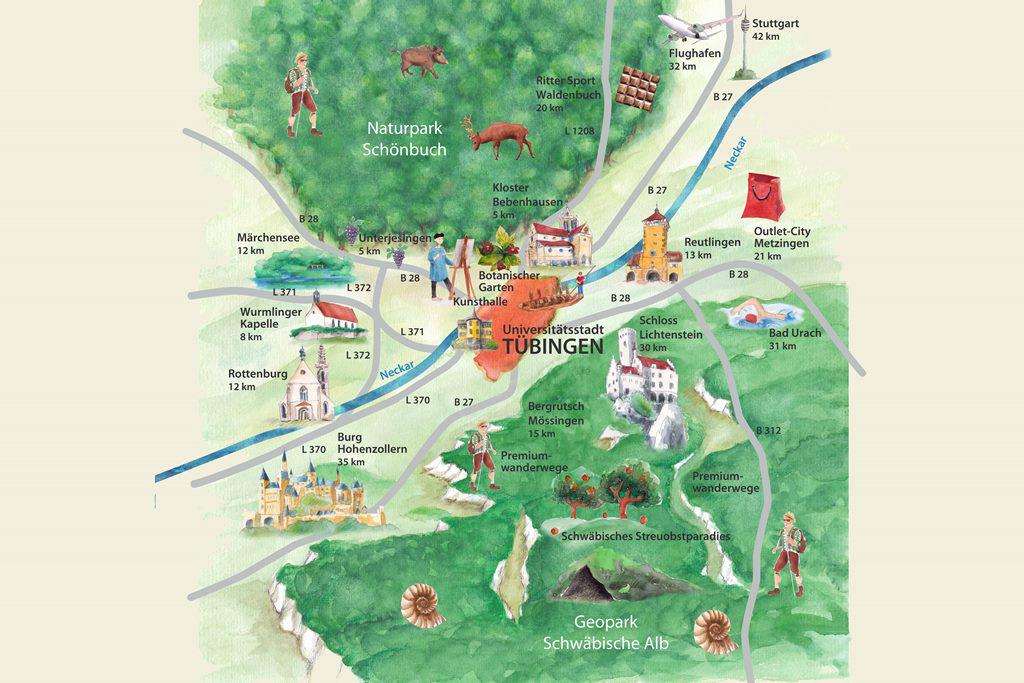 Umgebungskarte Tübingen