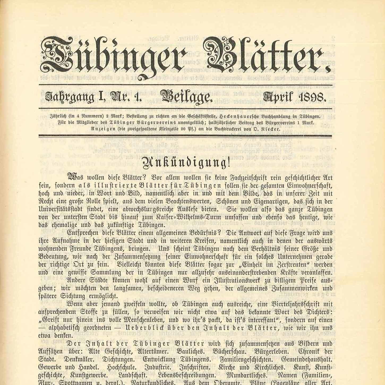 Tübinger Blätter 1898
