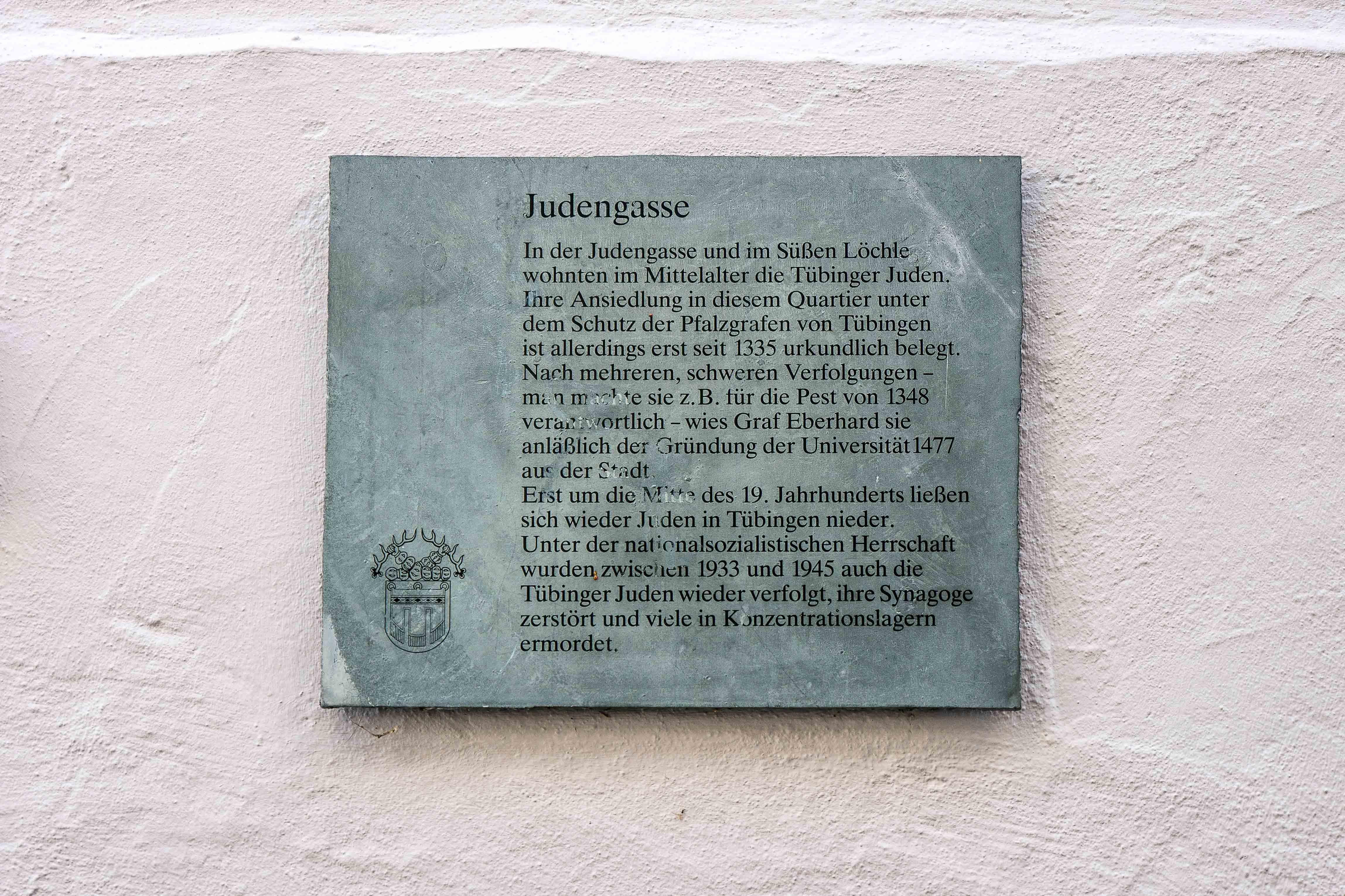 Schild in der Judengasse Tübingen