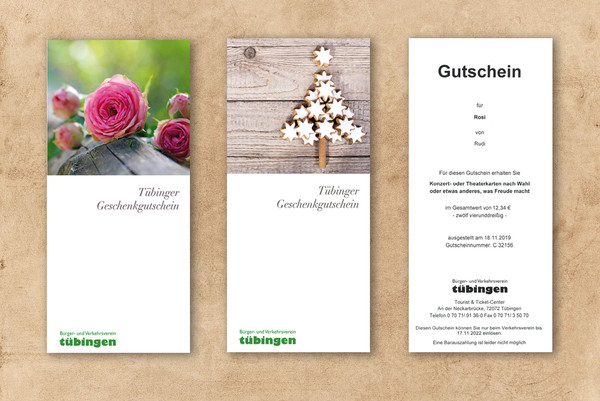 Tübinger Geschenkgutscheine für Kulturveranstaltungen
